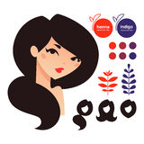 Natural hair dyes icons Stock Photo