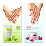 Natural Hand Cream 2 Realistic Banners Stock Images