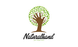 Natural Hand Logo. Minimalist and modern tree logo template. Simple work and adjusted to suit your needs Stock Image