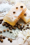 Natural hand-made soap, bath salt and coffee beans stock image