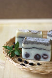 Natural handmade coffee soap. Stock Photos