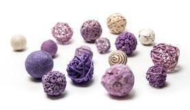 Natural handmade decorative balls of various shapes.  Royalty Free Stock Photo