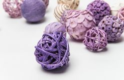 Natural handmade decorative balls of various shapes.  Royalty Free Stock Photos