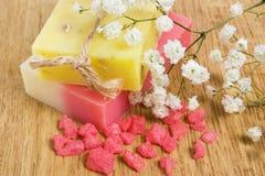 Natural handmade herbal soap and bath salt Royalty Free Stock Photography