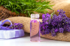 Natural handmade lavender Liquid soap and solid soap Stock Photo