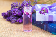 Natural handmade lavender Liquid soap and solid soap Stock Photos