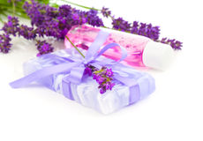 Natural handmade lavender soap and oil Royalty Free Stock Images