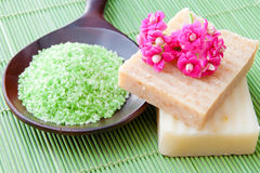 Natural handmade soap and bath salt for spa Royalty Free Stock Photo