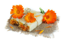 Natural handmade soap with calendula. (pot marigold), isolated on white Stock Image
