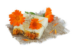 Natural handmade soap with calendula Stock Image