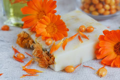 Natural handmade soap with calendula and sea buckthorn. Natural handmade soap with calendula (pot marigold) and sea-buckthorn on white wooden background Stock Image