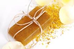 Natural handmade soap. With marigold Royalty Free Stock Photography