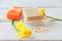 Natural handmade soap with oats Stock Images