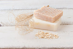 Natural handmade soap with oats Stock Photography