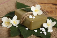 Natural handmade soap. Spa. Bar of natural handmade soap on leaves. Spa Royalty Free Stock Photos