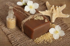 Natural handmade soap. Spa. Bar of natural handmade soap. Spa Royalty Free Stock Image