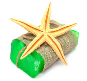 Natural handmade soap with starfish Stock Images