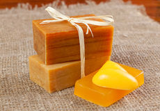 Natural handmade soap, tied with twine Royalty Free Stock Photos
