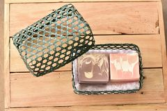 Natural Handmade Soap in the basket royalty free stock images