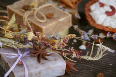 Natural handmade soaps Stock Photography