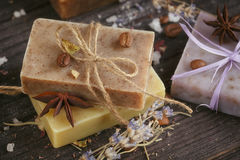 Natural handmade soaps Royalty Free Stock Images