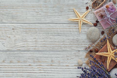 Natural handmade soaps with sea salt, coffee beans, sea star and Royalty Free Stock Photos