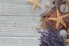 Natural handmade soaps with sea salt, coffee beans, sea star and Stock Image