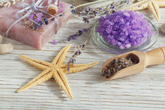 Natural handmade soaps with sea salt, sea star and dried lavende Stock Image