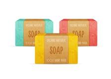 Natural handmade vector soap bars. stock illustration