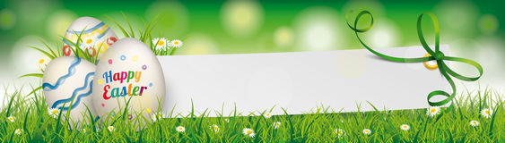 Natural Happy Easter Egg Paper Banner Green Ribbon Header. Easter eggs with paper banner and green ribbon Royalty Free Stock Images