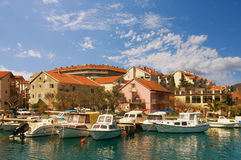 Natural harbor in Tivat city. Montenegro Stock Image