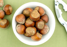 Natural Hazelnuts In Bowl With Nut Cracker Aerial Royalty Free Stock Photo