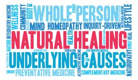 Natural Healing Word Cloud. On a white background Royalty Free Stock Image