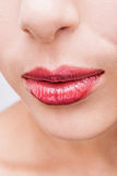 Natural health beauty of a woman face. Close-up lips. Photo Stock Images