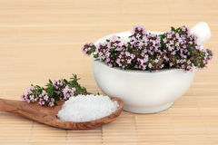 Natural Health Treatment. Thyme herb flowers and sea salt natural health products stock photos