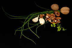 Natural healthy ingredients. Healthy ingredients on a black background Stock Image