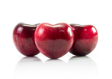 Natural heart shape from cherry fruit Royalty Free Stock Photos