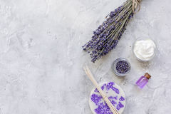 Natural herb cosmetic with lavender flatlay on stone background top view mockup Stock Photo