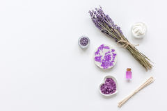 Natural herb cosmetic with lavender flatlay on white background top view mockup Royalty Free Stock Images