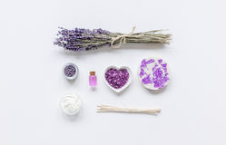 Natural herb cosmetic with lavender flatlay on white background top view mockup Stock Photos
