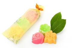 Natural herb soaps isolate on a white background Stock Photography