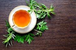 Natural herbal anti-inflammatory - organic wormwood tea Royalty Free Stock Photos