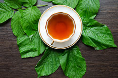 Natural herbal antipyretic - organic raspberry leaves tea Royalty Free Stock Photography