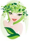Natural herbal cosmetics. A stylized portrait of a smiling girl on a background of Stock Image