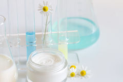 Natural herbal healthy cosmetics in the lab Stock Photo