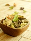 Natural herbal ingredient in wooden bowl Royalty Free Stock Photos