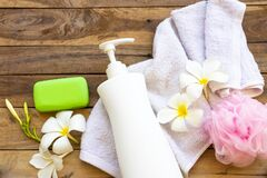 Free Natural Herbal Liquid Soap Health Care For Body Skin With Piece Soap ,terry Cloth Royalty Free Stock Photos - 183477208