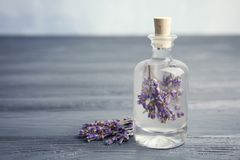 Natural herbal oil and lavender flowers royalty free stock images