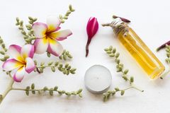 Natural herbal oils extrace from flower frangipani stock photography