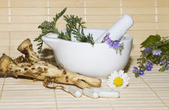 Natural herbal remedies Stock Photos